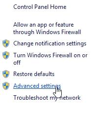 tìm và click chọn Advanced settings ở khung bên trái