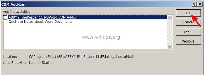 Bỏ tích tất cả các tùy chọn vô hiệu hóa plugin rồi click chọn OK