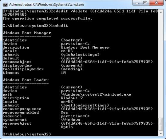 Loại bỏ thành phần khởi động boot menu trong Windows 7