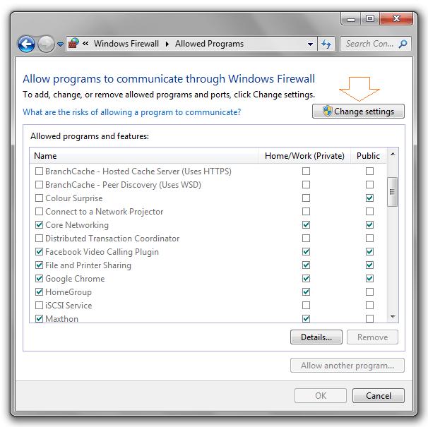 cửa sổ Allow programs to communicate through Windows Firewall