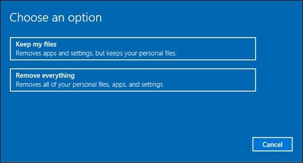 tùy chọn Keep my files và tùy chọn Remove