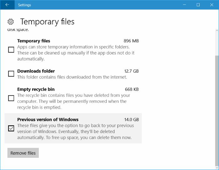 Giải phóng không gian bộ nhớ sau khi cập nhật Windows 10 Anniversary