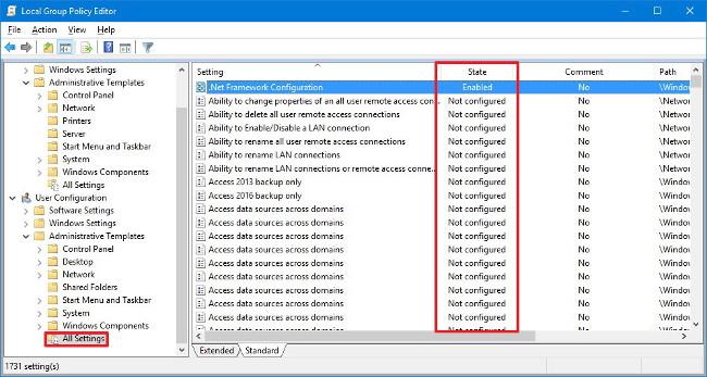 Nếu muốn thay đổi thiết lập tại mục User Configuration