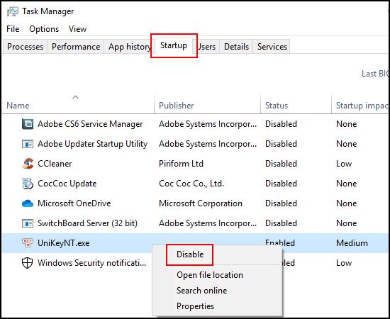Bước 2: Chọn mục Startup. Đây là những ứng dụng luôn khởi động cùng Windows, hãy chuột phải vào ứng dụng và Disable để tắt chúng đi.
