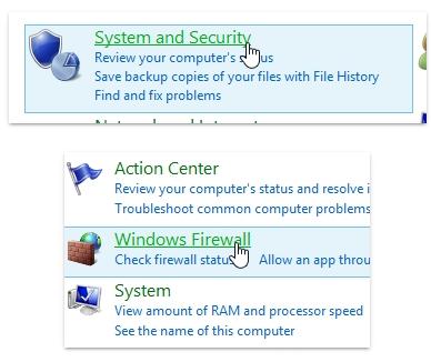 click chọn System and Security, sau đó click chọn Windows Firewall