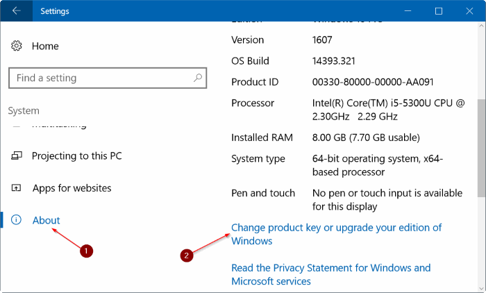 Click chọn link Change product key or upgrade your edition of Windows