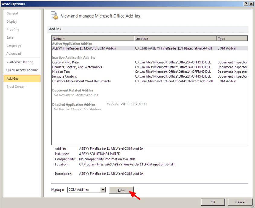 chọn COM Add-ins rồi click chọn Go....
