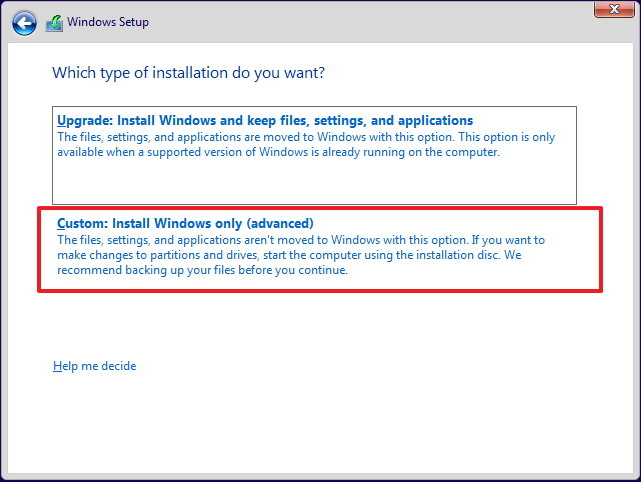 chọn Custom: Install Windows only (Advanced)