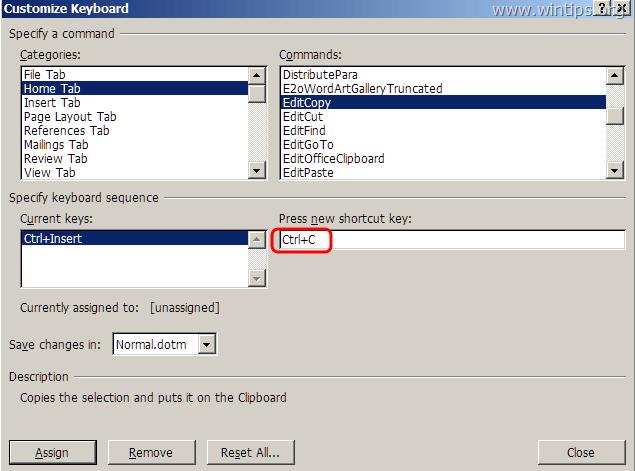 """Nếu không nhìn thấy 2 phím tắt trên, bạn click chọn """"Press new shortcut key"""""""