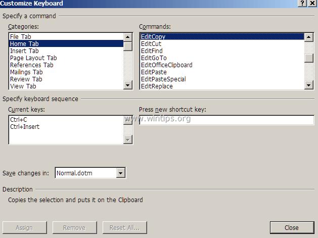 mục Customize Keyboard