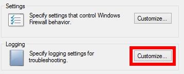 "click chọn ""Customize…"" tại mục Logging"