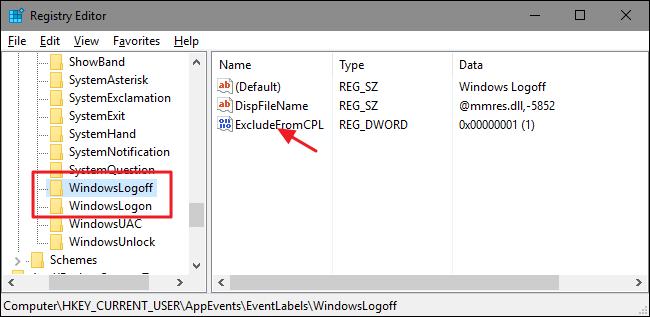 thực hiện tương tự như bước trên với 2 key con nằm trong key EventLabels