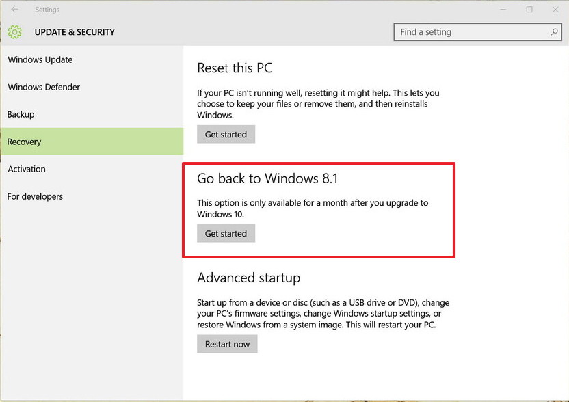 Go back to Windows 8