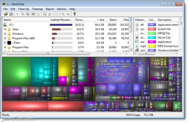 Kiểm tra và giám sát dung lượng ổ cứng với WinDirStat