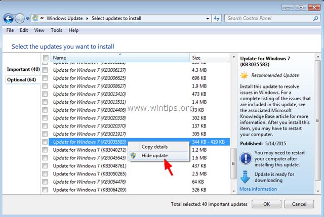 Kích chuột phải vào Update KB3057839 rồi chọn Hide update