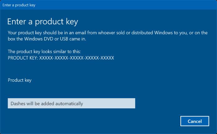 nhập Product key mới trên Windows 10