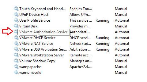 Tìm tùy chọn có tên VMware Authorization Service.