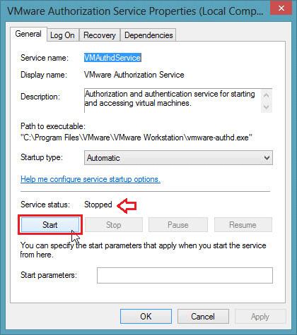 Chọn nút Start để chạy VMware Authorization Service.