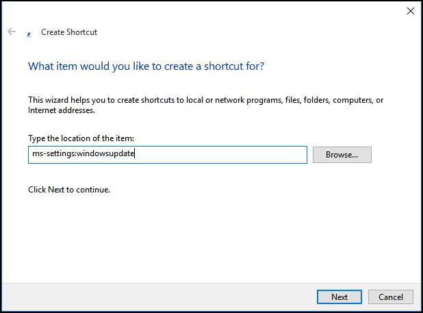 Hướng dẫn tạo shortcut Windows Update trên Windows 10