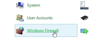 tìm và click chọn Windows Firewall