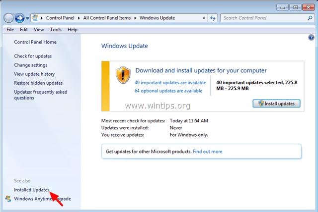 tìm và click chọn link Installed Updates ở khung bên trái