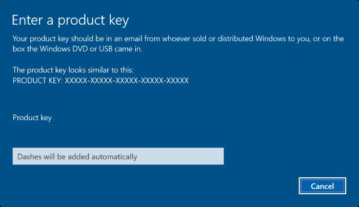 nhập product key mới vào đó rồi click chọn Next để thay đổi product key.