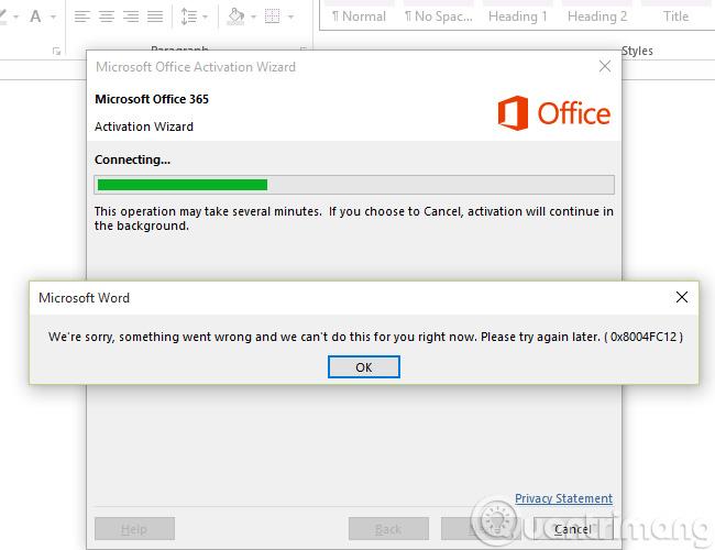 Lỗi khi kích hoạt Office mã 0x8004FC12