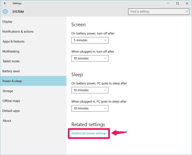 chọn Additional power settings