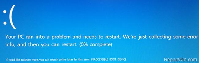 """Hướng dẫn sửa nhanh lỗi """"Inaccessible Boot Device"""" trên Windows 10/8/7 và Windows Vista"""