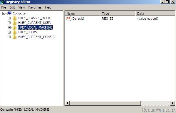 Trên cửa sổ Registry Editor