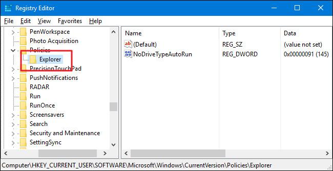 Tiến hành tạo một value mới trong key Explorer