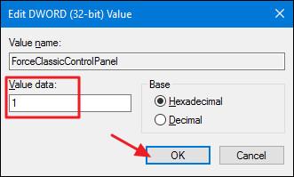 Tại đây bạn thay đổi value trong khung Value data từ 0 thành 1, tùy thuộc vào cách mà bạn muốn rồi click chọn OK.