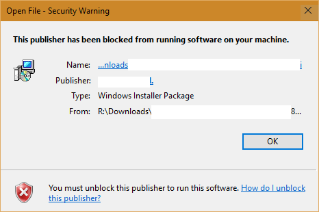 """Sửa lỗi """"This Publisher has been Blocked from Running Software on your Machine"""" trên Windows 10"""