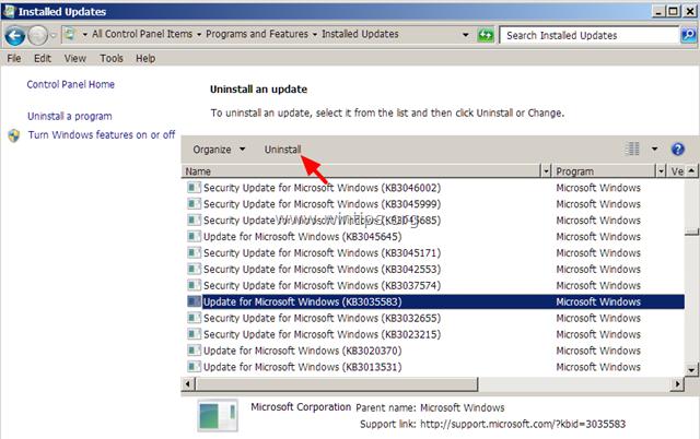 Chọn KB3057839 Update rồi click chọn Uninstall