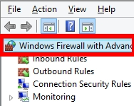 """tìm và chọn """"Windows Firewall with Advanced Security on Local Computer"""" ở khung bên trái"""