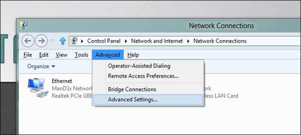 Cài đặt để laptop ưu tiên kết nối mạng có dây